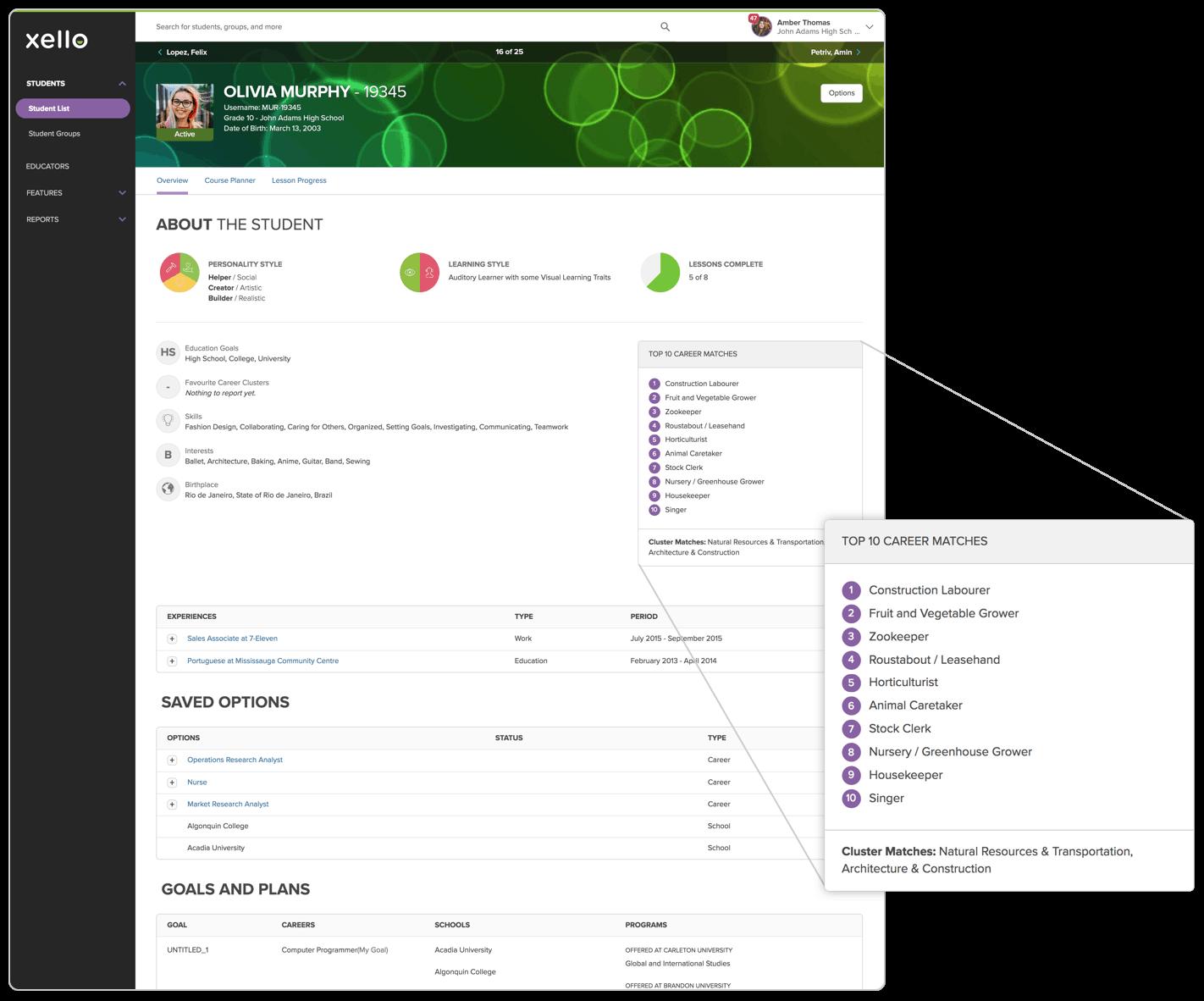 Individual student profile screen