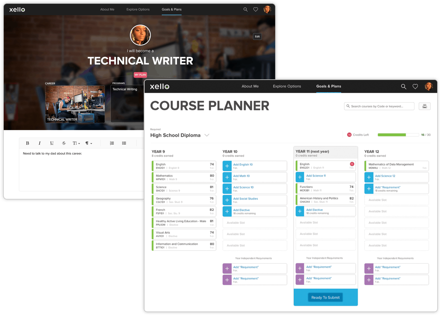 Integrated course planner and interactive plan builder